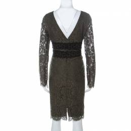 Diane Von Furstenberg Olive Green V-Neck Viera Lace Dress L 237249