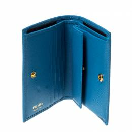 Prada Sky Blue Saffiano Lux Leather Bifold Wallet 236218