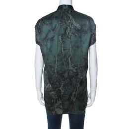Balenciaga Green Printed Mandarin Collar Cap Sleeve Button Front Shirt M 236198