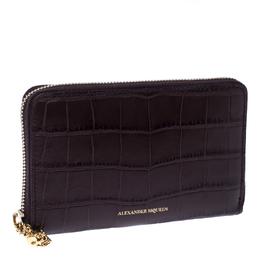 Alexander McQueen Burgundy Croc Embossed Leather Zip Around Wallet 236951