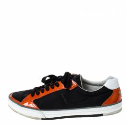 Prada Sport Black/Orange Nylon and Patent Leather Lace Up Low Top Sneakers Size 45 237449