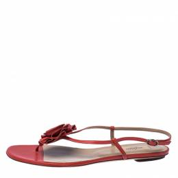 Valentino Red Leather Flower Flat Sandals Size 41 232581