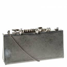 Jimmy Choo Metallic Silver Leather Vintage Celeste Clutch 233231