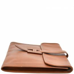 Hermes Brown Epsom Leather Jige GM Clutch 233544