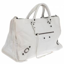 Balenciaga White Lambskin Leather Classic RH Work Bag 233048