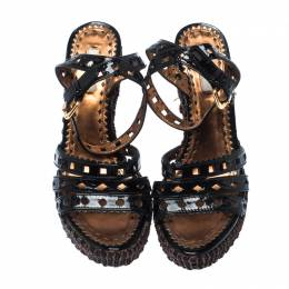 Prada Black Patent Leather Raffia Platform Ankle Strap Sandals Size 39.5 232950