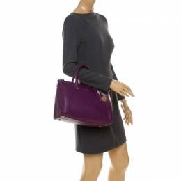 Furla Purple Leather Linda Satchel 233467