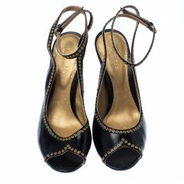 Sergio Black Eyelet Leather Peep Toe Slingback Sandals Size 38 Sergio Rossi 231735