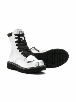 Diesel Kids ботинки со шнуровкой и эффектом металлик BY0103P1771