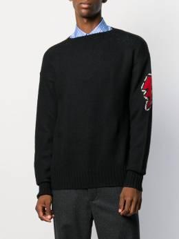 Prada - джемпер вязки интарсия с вышивкой 963S9309U0L956633930