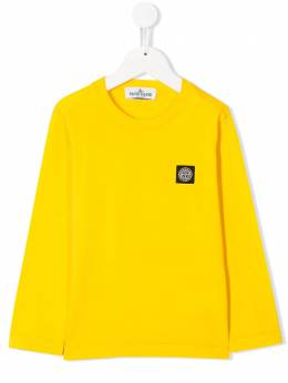 Stone Island Junior - футболка с длинными рукавами и логотипом 99606553955659330000