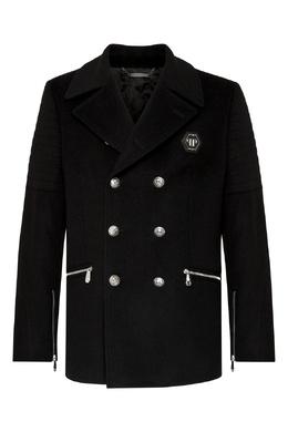 Черное пальто с отделкой из стразов Philipp Plein 1795159840