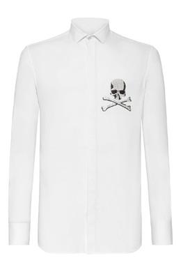 Белая рубашка с узором из стразов Philipp Plein 1795159844