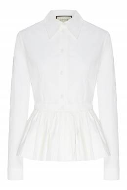 Белая блуза с баской Gucci 470160213