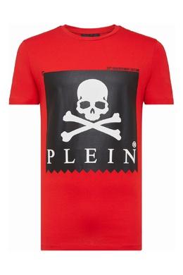Красная футболка с черным принтом Philipp Plein 1795159500