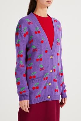 Сиреневый кардиган с вишнями Gucci 470160201