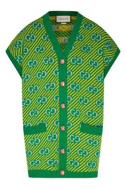 Зеленый жилет с узором Gucci 470160200