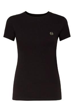 Черная футболка с декором на рукавах Philipp Plein 1795159657
