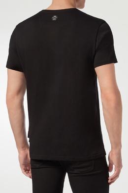 Черная футболка с рисунком из черных и прозрачных стразов Philipp Plein 1795159818