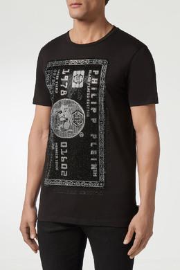 Коричневая футболка с узорами на груди и спине Philipp Plein 1795159486