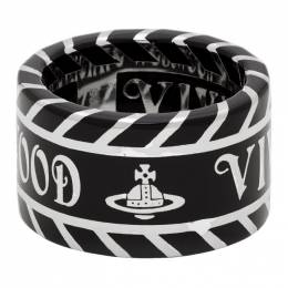 Vivienne Westwood Silver and Black Jacinda Ring 192314M14700502GB