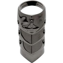 Vivienne Westwood Gunmetal Armor Ring 192314M14700402GB