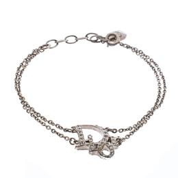 Dior Crystal Embellished Logo Silver Tone Bracelet 236120