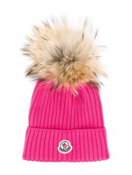 Moncler Kids - шапка бини с меховым помпоном 966565S6995503606000