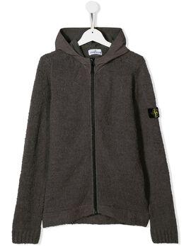 Stone Island Junior - вязаная куртка с капюшоном 996509D3955863530000