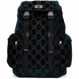 Gucci Blue Velvet Medium GG Backpack 192451M16600201GB