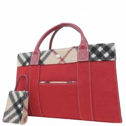 Burberry Red/Beige Wool Leather Blue Label Bag 237551