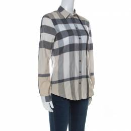 Burberry Beige Nova Check Cotton Blend Button Front Shirt XS 237735
