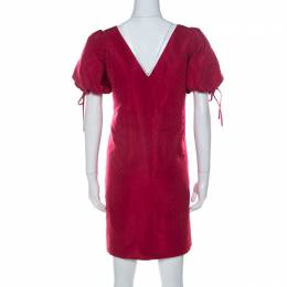 Red Valentino Raspberry Red Tonal Jacquard Puff Sleeve Dress L 237500