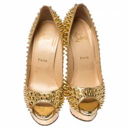 Christian Louboutin Metallic Gold Python Lady Peep Spikes 150 Pumps Size 40 237251