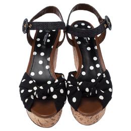 Dolce&Gabbana Black Raffia And Polka Dot Fabric Cady Cork Wedge Platform Slingback Sandals Size 39.5 237232