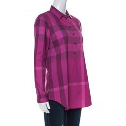 Burberry Fuchsia Pink Nova Check Cotton Half Placket Front Button Shirt S 237696