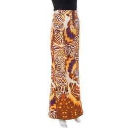 Just Cavalli Orange and Purple Animal Printed Denim Maxi Skirt L 236241