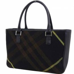 Burberry Tricolor Canvas Leather Top Handle Bag 237592