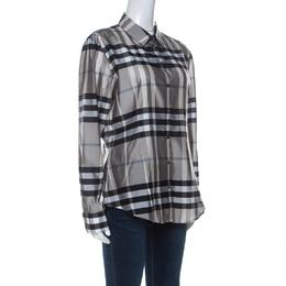 Burberry Grey Nova Check Silk Blend Slim Fit Button Front Shirt M 237699