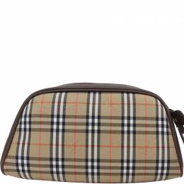 Burberry Brown Canvas Leather Check Pouch 237584