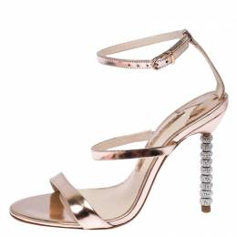 Sophia Webster Metallic Leather Rosalind Crystal Embellished Ankle Strap Sandals Size 36 234739