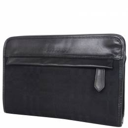 Burberry Black Canvas Leather Clutch Bag 237554