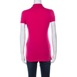 Burberry Brit Pink Piqué Cotton Puff Sleeve Detail Polo Shirt S 237760