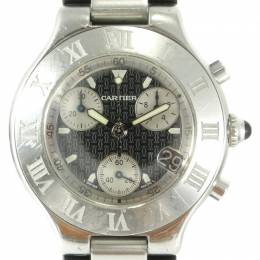 Cartier Black Stainless Steel and Rubber Must 21 Chronograph W10125U2 Men's Wristwatch 38MM 237536