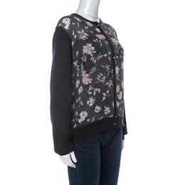 Salvatore Ferragamo Charcoal Grey Knit and Floral Printed Silk Cardigan XL 233087