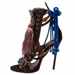 Dsquared2 Brown Suede Leather Embellished Ankle Wrap Sandals Size 39 233321