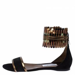 Jimmy Choo Black/Gold Suede and Mirror Leather Kimro Ankle Cuff Flat Sandals Size 40 233805