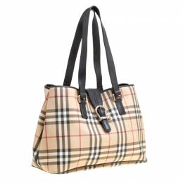 Burberry Beige/Black House Check PVC and Leather Diaper Tote 154092