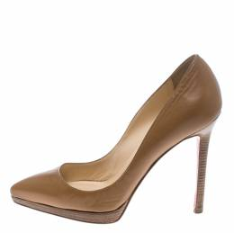 Christian Louboutin Beige Leather Pigalle Plato Pumps Size 36 152845