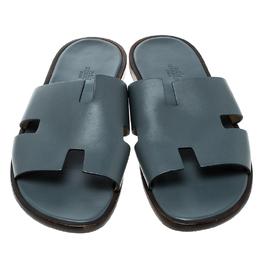 Hermes Grey Leather Izmir Sandals Size 43 137580
